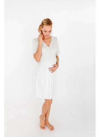 Hays Kadın Mom Dantel Detaylı Kruvaze Penye Modal Gecelik Beyaz